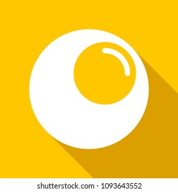 Omelet. Icon. Flat style. Yellow background.