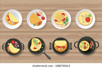 Omelet in the plate on wooden table