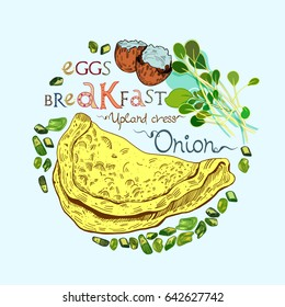 Omelet or scrambled eggs vector illustration with onion and salad leaves in engraved style. Signed with lettering.