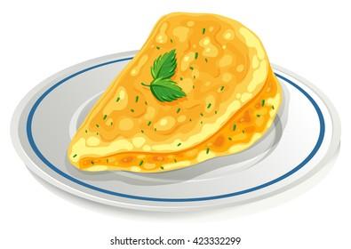 Omelette on the plate illustration