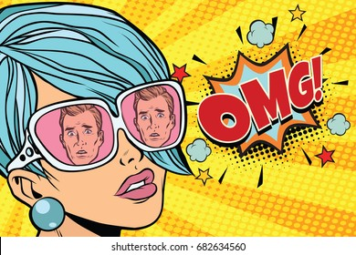 OMG Beautiful woman, the reflection of men in sunglasses. Pop art retro comic book vector illustration