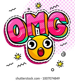 OMG in comic speech bubble with heart emoji. Message in pop art comic style with hand drawn smile. Vector illustration.