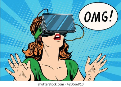 OMG emotions from virtual reality retro girl