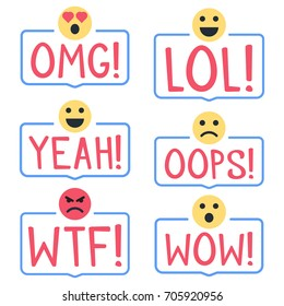 Omg! Lol! Yeah! Oops! Wtf! Wow! Set of badges, stamps with emoji faces icons. Flat vector illustrations on white background.
