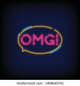 OMG neon sign vector with a Brick Wall Background Design template neon sign  light banner  neon signboard  nightly bright advertising  light inscription. Vector illustration