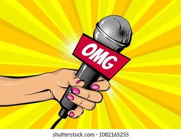 OMG news comic text speech bubble. Woman pop art style fashion. Girl hand hold microphone cartoon vector illustration. Retro poster comimc book performance. Entertainment halftone background.
