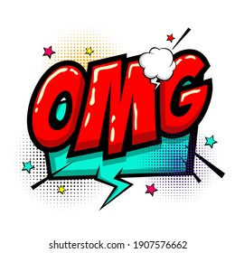 Omg ouch oops wow comic text speech bubble. Colored pop art style sound effect. Halftone vector illustration banner. Vintage comics book poster. Colored funny cloud font