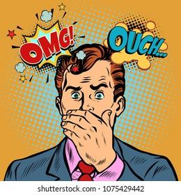 OMG ouch surprised businessman. Pop art retro vector illustration cartoon comics kitsch drawing