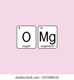 OMG pink sign. Emotion expression symbol. Periodic table science elements. Surprise text. Cute quote slogan. Graphic tee fun design for girl.