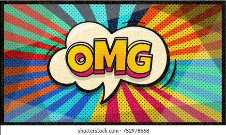OMG  pop art cloud bubble. Sexy Wow speech bubble. Trendy Colorful retro vintage background in pop art retro comic style. Social media bubble. Easy editable for Your design.