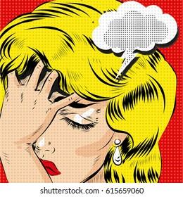 OMG pop art comic blonde woman stressed vector art