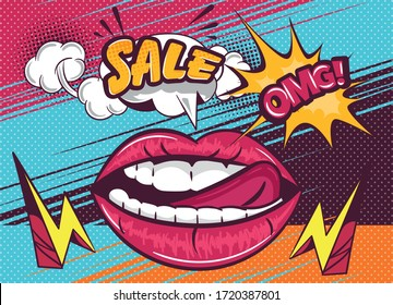 OMG Sale poster design with sexy lips and tip of tongue with electricity voltage or zap icons, pop art style vector illustration