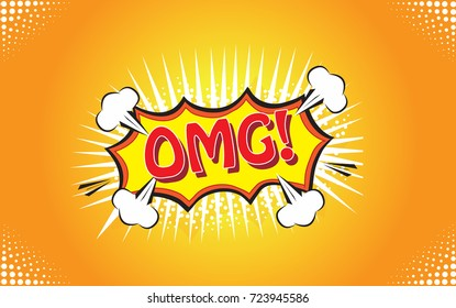 OMG! speech bubble close-up on yellow background, vector illustration. Invitation poster for party. For ads, invitation cards, marketing, social network, blog and placard