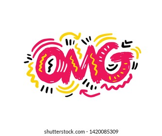 OMG! sticker, Hand sketched OMG! lettering typography Hand drawn OMG! lettering neon sign.Badge, icon, banner, postcard, poster OMG! Vector illustration