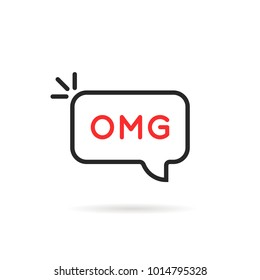 omg word in thin line bubble. flat simple trend logotype art graphic design element on white background. concept of oh my god text like surprise short message for web chatting or people stress emotion