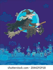 Ominous Halloween witch flying on her magic broom over a small town on a moonlit night, vector cartoon illustration