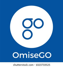 OmiseGO (OMG) blockchain banking, remittance, and exchange cryptocurrency vector white blue logo.