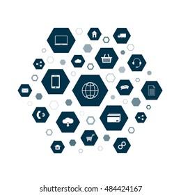 Omni Channel icon design. E-Commerce, Digital Marketing - vector illustration. Customer network connection symbol.