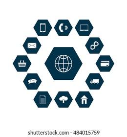 Omni Channel icon design. Multi Channel, E-Commerce, Digital Marketing - vector illustration. Customer network connection icon.
