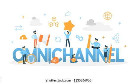 Omnichannel concept. Many communication channels with customer. Online and offline retail helps to grow your business. Isolated flat line illustration