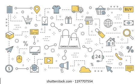 Omnichannel concept. Many communication channels with customer. Online and offline retail helps to grow your business. Set of line icons. Isolated flat vector illustration
