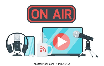 On air sign color vector illustration. Record studio devices, headphones, microphone, headset, laptop. Podcast, media and entertainment. News, radio and television broadcasting isolated design element