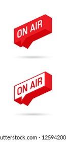 On Air sign, emblem, logo. Live stream symbol. Speech bubble. Vector illustration.