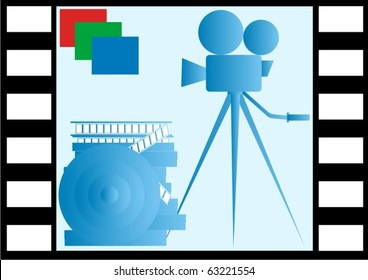 On the background of the image frame of film reels of film and film camera on a tripod.