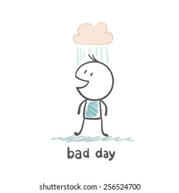 on a bad day per person dripping rain illustration