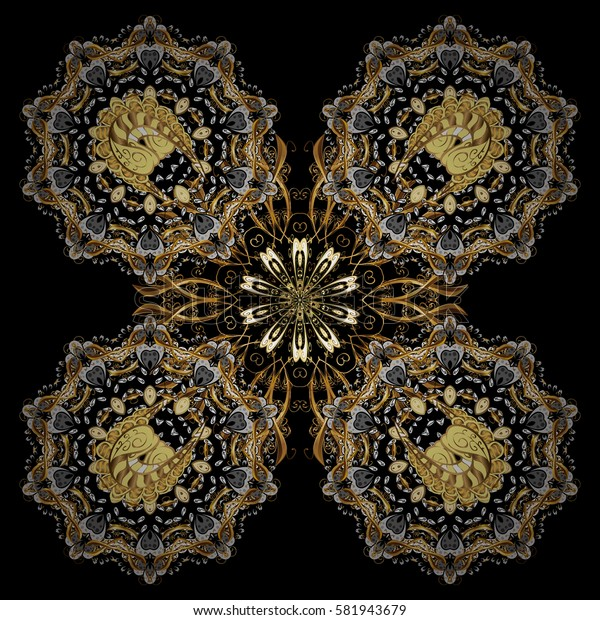 On black background with golden elements. Classic vector golden pattern. Traditional orient ornament, classic vintage background.