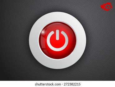 On a black background red glass button on
