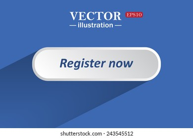 On a blue background with shadow, white button for a site. Register now. Vector illustration, EPS 10