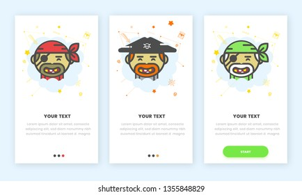 an on boarding (onboarding) set of 3 flat cartoon illustrated pirates for a mobile phone app