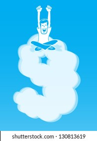 On Cloud Nine/ Happy Man sitting atop a cloud shaped like the number 9