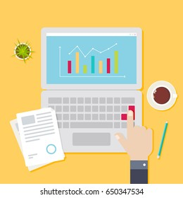 On the desktop a laptop with financial charts and graphs on the screen, document, pencil, coffee cup and cactus in a pot.  The hand presses the button. Vector illustration business concept design.