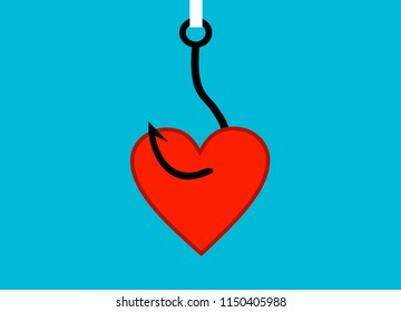 On fishing hook hanging heart. Deception, a trap on the hook. Flat design style, vector illustration.