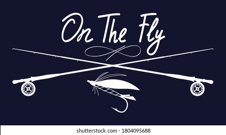 On the fly. Fly fishing illustration. Hand drawn stock vector artwork.