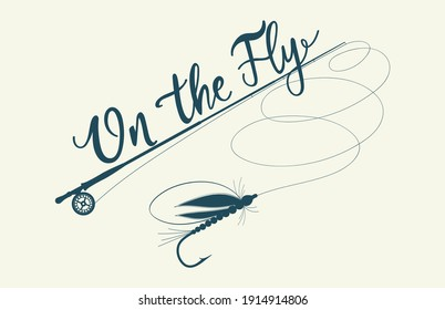 On the fly. Fishing rod on the light tone backdrop. Hand drawn vector stock fly fishing illustration.