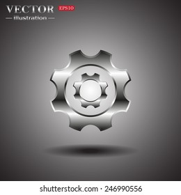 On a gray background with shadow. Cog Settings , vector illustration, EPS 10