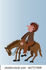 On his high horse man mounts his horse