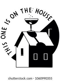 On The House - Retro Clip Art Illustration