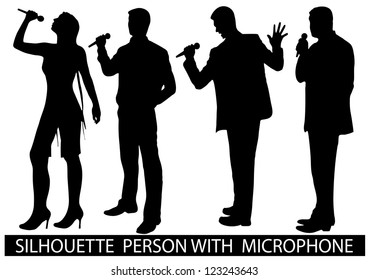 on the image are presented a silhouette of people with a microphone