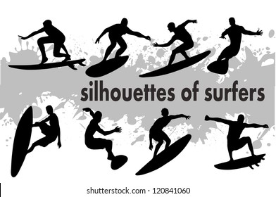 on the image the silhouette of surfers is presented