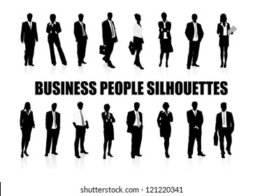 on the image silhouettes of people of business are presented