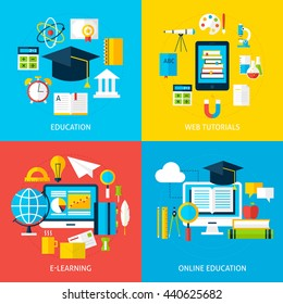On line Education and Learning Service Concepts Set. Flat Design Vector Illustration. Collection of Online Tutorial and School Education Posters.