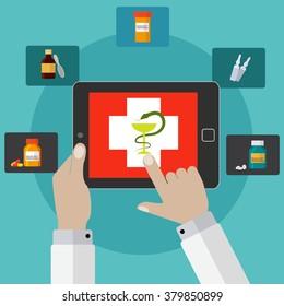 On line pharmacy, medicine app vector concept