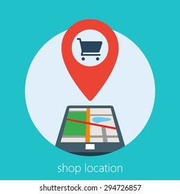 on line shop location using a smart phone