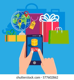 On line shopping e-commerce 24 hours customer support service concept with payment options. Vector illustration in modern flat style for web banners and info graphic