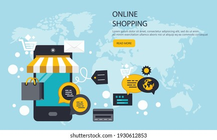 On line shopping and payment Methods. Mobile payments. Pay per click and online order. Flat vector illustration