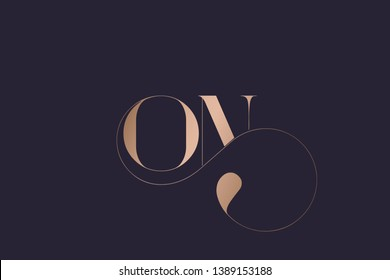 ON logo monogram.Typographic icon with letter o and letter n. Serif lettering and decorative swirl. Alphabet initials sign in rose gold metallic color isolated on dark background.Modern, luxury style.